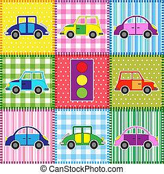 cartone animato, patchwork, automobili