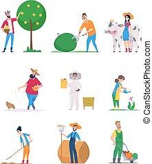 cartone animato, persone, verdura, caratteri, crescita, vettore, lavorante, felice, giardinieri, agricoltura, farmers.