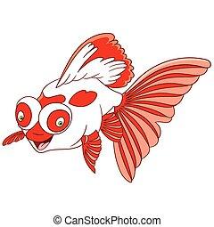 cartone animato, pesce rosso, telescopio, carino