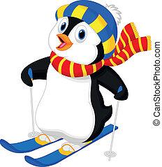 cartone animato, pinguino, sciare