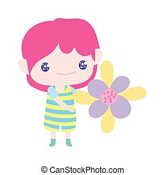 cartone animato, poco, bello, presa a terra, ragazzo, carino, fiore