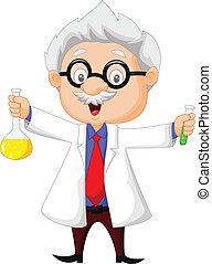 cartone animato, presa a terra, scienziato chimico
