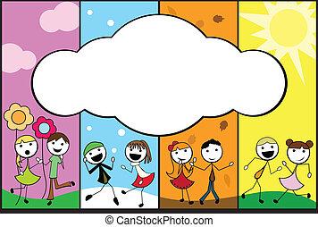 cartone animato, quattro, bastone, fondo, stagioni, bambini