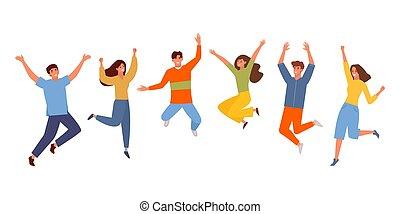cartone animato, ragazza, celebrazione, gioia, saltare, colorare, insieme, felice, gioioso, persone, celebra, vettore, graphics., squadra, tipo, success., set., studenti, sorridente, vittoria, adolescenti, divertente, giovane