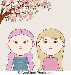 cartone animato, ragazze, giovane, ramo, albero, fiori