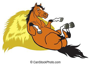 cartone animato, riposare, cavallo