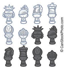 cartone animato, scacchi, isolato