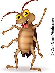 cartone animato, scarafaggio, mano, ondeggiare
