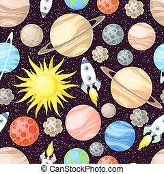 cartone animato, seamless, carta da parati, elementi, tessuto, solare, razzo, disegno, space., scheda, stampa, differente, pianeti, sole, vettore, modello, sistema, stelle