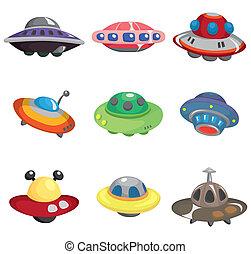 cartone animato, set, astronave, ufo, icona