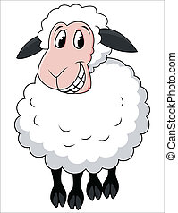 cartone animato, sheep, sorridente
