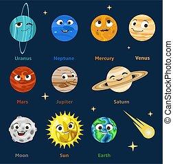 cartone animato, sistema, solare, carta in fogli, spazio, astronomy., facce sorridenti, bambini, vettore, emoji., divertente, illustration., carino, pianeti