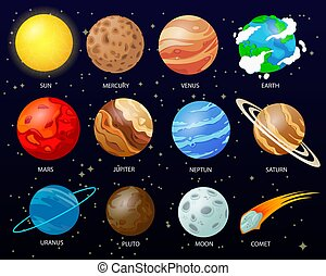 cartone animato, solare, pianeti, sistema