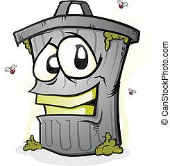 cartone animato, sorridente, lattina, carattere, rifiuti