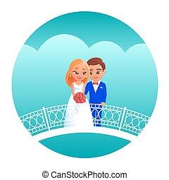 cartone animato, sposa, sposo, bridge.