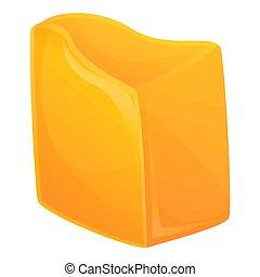 cartone animato, stile, icona, formaggio cheddar