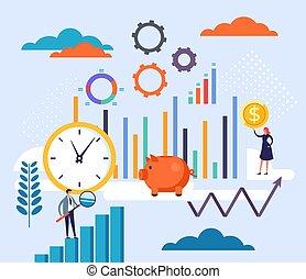 cartone animato, strategia, lavoro squadra, grafico, illustrazione affari, disegno, concept., vettore, pianificazione, appartamento