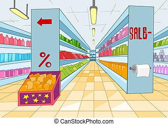 cartone animato, supermercato