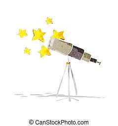 cartone animato, telescopio