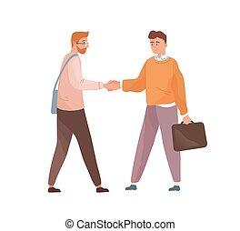cartone animato, uomini affari, adulto, fondo., consoci, appartamento, impiegato, isolato, illustrazione, cooperation., persone, bianco, mani, datore lavoro, affare, vettore, agreement., tremante, acquaintance.