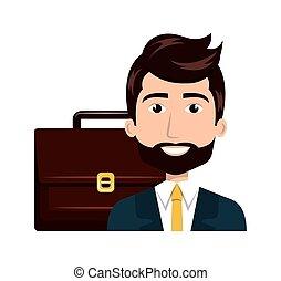 cartone animato, uomo, isolato, valigia
