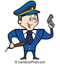 cartone animato, uomo, polizia, fucile, ufficiale
