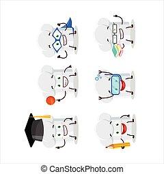 cartone animato, vario, chef, espressioni, scuola, cappello, carattere, studente