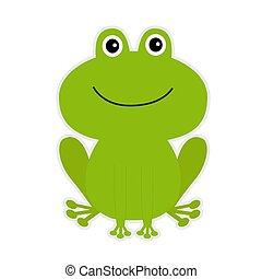 cartone animato, verde, carino, frog.