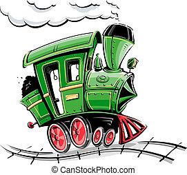 cartone animato, verde, locomotiva, retro