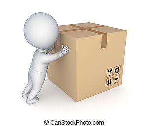 cartone, box., persona, grande, 3d, piccolo