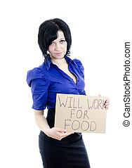 cartone, donna, disoccupato