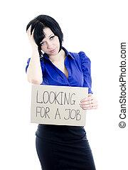 cartone, donna, disoccupato, isolato, dall'aspetto, job., sopra, white.