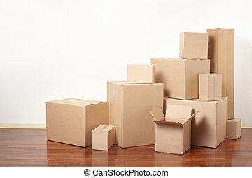 cartone, giorno trasloco, scatole