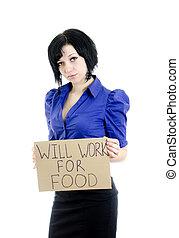 """cartone, """"will, donna, disoccupato, isolato, lavoro, food""""., white."""