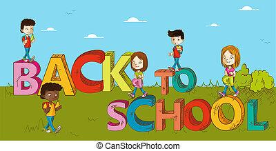 cartoon., bambini scuola, educazione, indietro