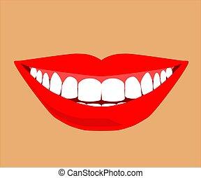 cartoon., denti, beige, sorriso, fondo., vettore
