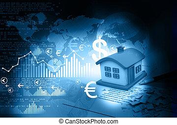 casa, 3d, grafico, affari, grafico