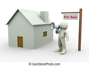 casa, 3d, -, vendita, persona