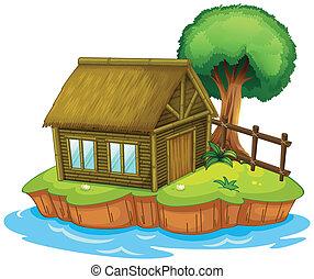 casa, albero, isola