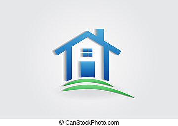 casa, appartamento, vettore, logotipo