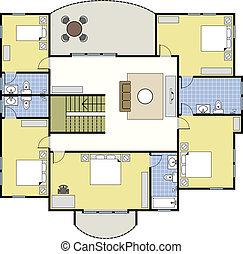 casa, architettura, floorplan, piano
