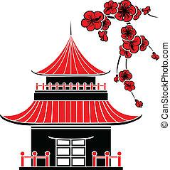 casa, asiatico, fiori, ciliegia