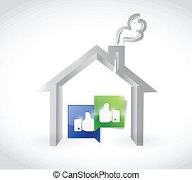 casa, associazione, disegno, illustrazione