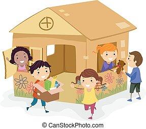 casa, bambini, cartone, ragazze, gioco, stickman