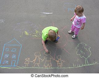 casa, bambini, famiglia, asfalto, disegno