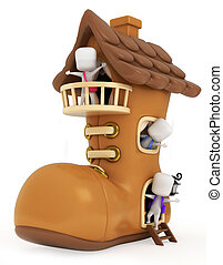 casa, bambini, scarpa