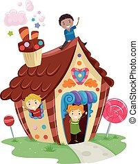 casa, bambini, stickman, caramella