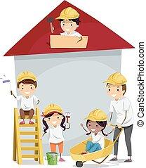 casa, bambini, stickman, costruire