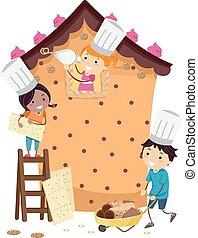 casa, bambini, stickman, pasta, costruire