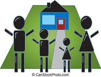 casa, bastone, famiglia, figura
